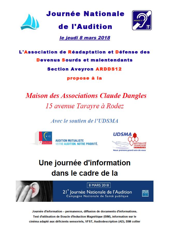 Journ e nationale de l 39 audition jeudi 8 mars 2018 udsma mutualit fran aise aveyron - Jeudi de l ascension 2018 ...